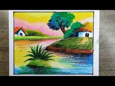 Sunset scenery-sunset scenery drawing with river by oil pastel colour / oil pastel scenery drawing Fine Art Drawing, Drawing For Kids, Carrot Drawing, Pencil Drawings, Art Drawings, Interior Design Renderings, Oil Pastel Colours, Sky Art, Natural Scenery