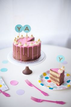 pink drippy ganache chocolate cake - coco cake land