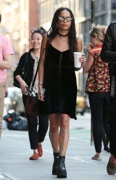 Zoë Kravitz shows off the latest body chain trend–the leg chain while out in NYC.