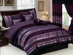 7 PC Modern PURPLE BLACK SILVER Chenille Comforter Set / BED IN A BAG - QUEEN SIZE BEDDING