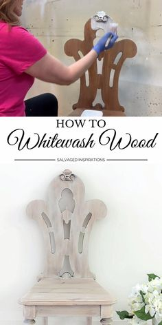 How To Whitewash Wood Denise ~ Salvaged Inspirations sidenise Brand Ambassadors Diy Furniture Videos, Furniture Painting Techniques, Furniture Wax, Chalk Paint Furniture, Refurbished Furniture, Repurposed Furniture, Furniture Makeover, Chalk Paint Table, Furniture Repair