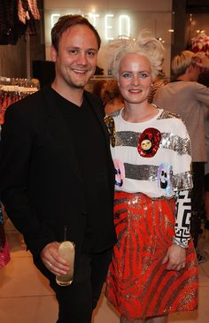 Nicholas Kirkwood showing his support to Louise Gray at the launch party of her Topshop collection.