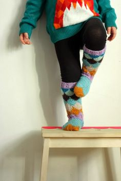 Ou no! How nice! Wool Socks, Knitting Socks, Hand Knitting, Darning, Fun Projects, Leg Warmers, Little Girls, Knit Crochet, Blog