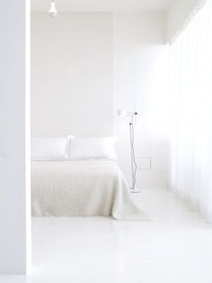 All-white bed room. Designer: unknown.