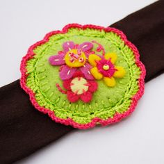 Fabric hairband with felt flower applique by bboutiquebeauties, $10.00