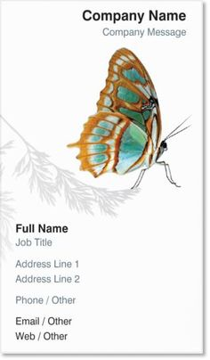 White Butterfly Vertical Premium Business Cards, Elegant White Vertical Premium Business Cards | Vistaprint