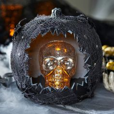 Black Carved Skull PumpkinBlack Carved Skull Pumpkin