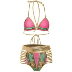 8c7133677 Halter Cut Out Graphic Bikini Set ($18) ❤ liked on Polyvore featuring  swimwear,
