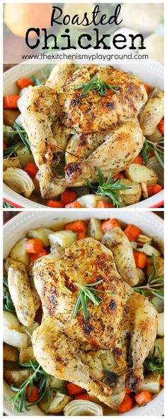 Whole Roasted Chicken with Vegetables ~ It's a meal perfect for a casual weeknight family dinner, or a meal fit for company alike.  Pop some vegetables in the bottom of the pan, and you've got a totally delicious, totally easy side to serve up alongside that beautiful bird, too.  That's a whole lot of deliciousness from just one pan!