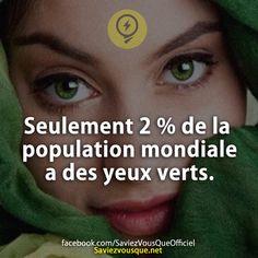 Seulement 2 % de la population mondiale a des yeux verts. | Saviez Vous Que?