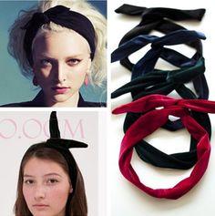Encontrar Más Accesorios para Cabello Información acerca de Calientes de  moda de terciopelo terciopelo dorado orejas