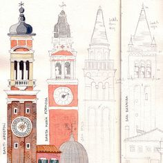 Sketches of Venice bell-towers showing step by step how I draw first with pencil (with wrtiiten notes for the colors), the add the watercolors and then final details with fine marker. Watercolor Sketch, Watercolor Illustration, Watercolor Paintings, Notebook Sketches, Architecture Sketchbook, Interior Design Sketches, Artist Journal, House Drawing, Urban Sketching