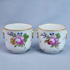 Paris Manufacture De La Reine Paire Petits Pots Porcelaine 18ème Bouquets | eBay