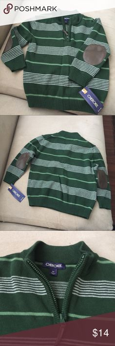 Cherokee zipper Sweater  toddler boy's  3T Brand New with Tag. Green color. Zipper in front, 100% Cotton. Cherokee Shirts & Tops Sweaters
