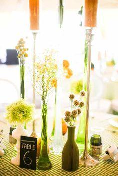 #tablearrangements. random vases. table numbers, sunshine yellow. unusual #tabledesign happy flowers #bnai #parklandchefcatering #sarareneeevents
