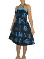 Amazon.com: Sourpuss Rockabilly Punk Rock Sea Devil Octopus Baby Doll Chiffon Dress: Clothing