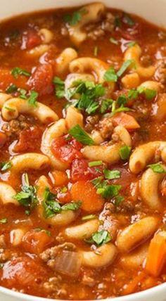 Beef and Tomato Macaroni Soup Recipe /cookingclassy/