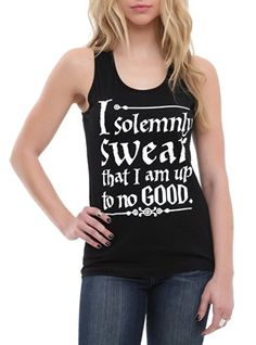 Harry Potter Solemnly Swear Girls Tank Top Size : Large Hot Topic http://www.amazon.com/dp/B00J8D3MA0/ref=cm_sw_r_pi_dp_feQ8tb03PSC8N   LOL I LOVE THIS SHIRT! I love this line from Harry Potter and I love the weasley twins! I solemly swear I am up to no good! :D