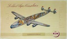 KLM-LOCKHEED-SUPER-CONSTELLATION-VUE-EN-ECLATE-CUTAWAY-AFFICHE-ANCIENNE-1950