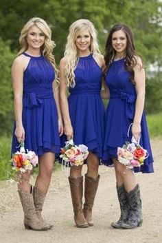 Bridesmaid Dresses with Boots, Royal Blue Bridesmaid Dresses,Summer Bridesmaid Dresses,Short Bridesmaid Dresses,FS071