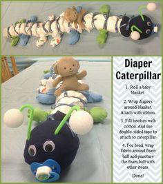 Free Caterpillar Diaper Cake Instructions