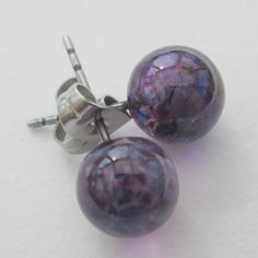 Handmade glass & surgical steel ball stud by BlueBoxStudio on Etsy