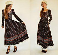 jaren 1970 Gunne Sax vallen Maxi jurk Floral door vagabondiavintage