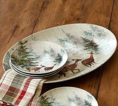 Deer in Snow Platter | Pottery Barn)