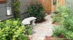 Recycled Granite Block Patio, side yard. Great blog too.