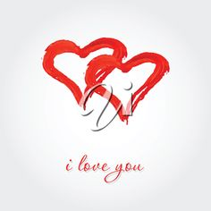 iCLIPART - Royalty Free Clipart Image of Two Entwined Hearts With an I Love You