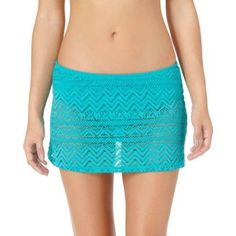 Catalina Missy Solid Crochet Skirted Bottom, Women's, Size: Medium, Blue