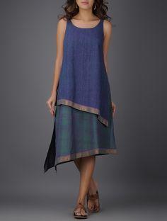 Buy Blue Round Neck Handwoven Mangalgiri Cotton Layered Dress Women Dresses Onli… – Linen Dresses For Women Linen Dresses, Cotton Dresses, Casual Dresses, Kurta Designs, Blouse Designs, Dress Designs, Boho Fashion, Fashion Dresses, Fashion Black