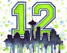 Seattle Seahawks Super Bowl Clip Art | Seattle Seahawks 12th Man Fan Art, Watercolor, Skyline, Space Needle ...