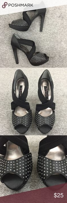 "Nina New York Rhinestone Bungee Strap Heels Size 7 Pre-owned, no box. Heel 5"", platform 1"". Please view pics for condition. Nina Shoes"