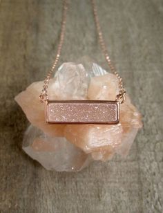 Rose Gold Druzy Necklace Natural White AB Druzy Necklace