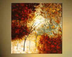 Original paysage abstrait peinture moderne couteau texturé en fleurs arbres peinture rouge, verte par Osnat - sur commande - 30 « x 30 »