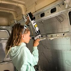 Installing DIY Van Insulation This is a great way to fill in all of the cracks and gaps when it comes to insulating a camper van I want to buy this stuff when I start my own vanlife build Camping Diy, Van Camping, Camper Life, Vw Camper, Campers, Ford Transit Camper, Van Life, Van Insulation, Van Conversion Insulation