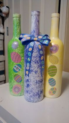 Easter Decorative Wine Bottles set of 3 by AndiNicoleCrafts