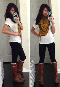 Women's White Crew-neck T-shirt, Black Leggings, Dark Brown Leather Knee High Boots, Mustard Scarf