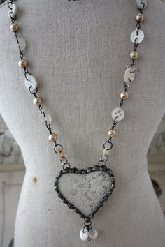 Vintage Lace Heart Necklace with Button Links and BUTTONS!