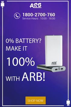 0% Battery? Make it 100% with #ARB!  #PowerBank #ARBPowerBank #OnlinePowerBank  Grab Now:- http://www.arbpowerbank.com/