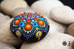 Mandala Stone hand painted Rock Decor Natural Sea Stone