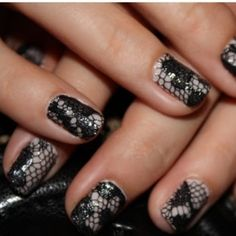 Dislike texture on nails, but I love this look.  Black lace