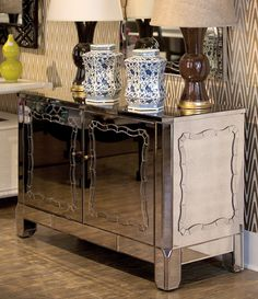 Bungalow 5 Furniture | Side Tables | MARIE 6-DRAWER, ANTIQUE MIRROR