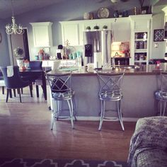 Still loving my updated cabinets and wall color. Grey Walls, White Cabinets, Vanity, Mirror, Furniture, Color, Home Decor, White Dressers, Dressing Tables