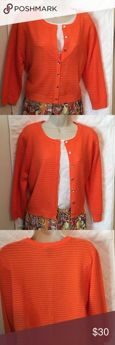 """Investments Cardigan Color is ripe papaya. Button front open weave cardigan has 3/4 sleeves and cuffs at bottom of sweater and sleeves. 19"""" from neck to hem and 21"""" armpit to armpit. Smoke free home. Investments Sweaters Cardigans"""