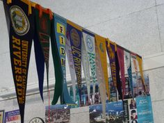 hanging college pennants