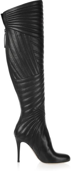 Valentino Stitched Leather Knee Boots in Black
