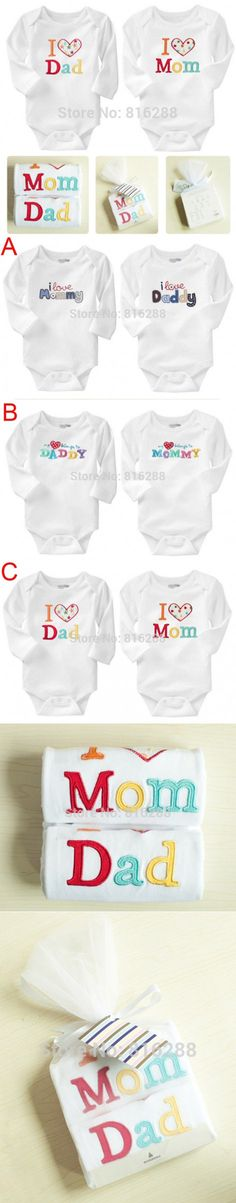 2PCS Brand Baby Rompers I Love Mom I Love Dad Long Sleeve Baby Romper Cotton White Letter Baby Boy Girl Clothing