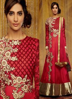 Attractive Look #Red #Suit With #Embroidery & Patch Patti Work